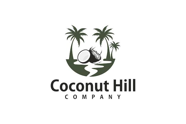 Logo design tre alberi di cocco nel mare