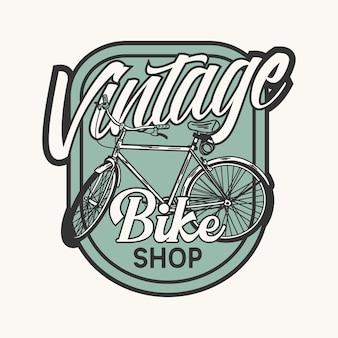 Negozio di bici vintage di design logo con illustrazione vintage di biciclette