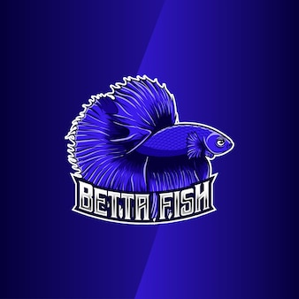 Carattere di pesce betta blu logo design whit