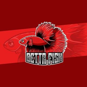 Carattere di pesce betta rosso logo design whit