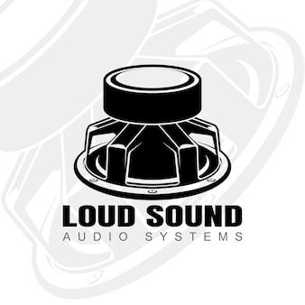 Design del logo con altoparlante audio rivolto verso l'alto