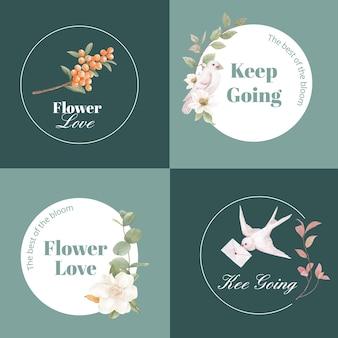 Logo design con concetto di fiori cottagecore, stile acquerello