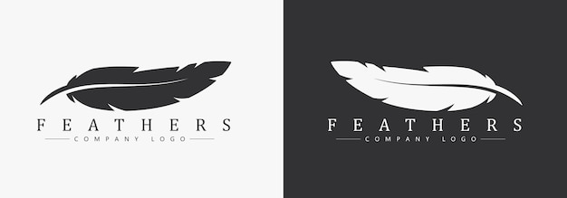 Design del logo con piuma e nome dell'azienda, per uno scrittore o editori. modello su sfondo bianco e nero.