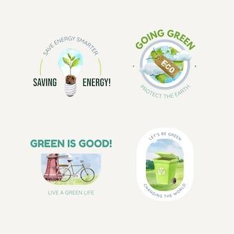 Progettazione di logo con il concetto di energia verde in stile acquerello