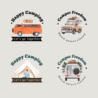 Logo design con concetto di camper felice
