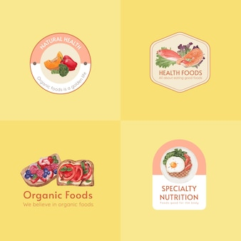Logo design con concetto di cibo sano, stile acquerello