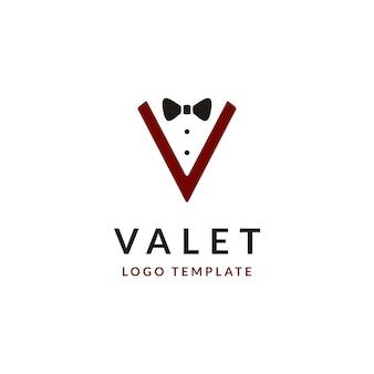 Logo design con iniziale lettera v e papillon