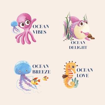 Design del logo con il concetto di oceano felice stile acquerello