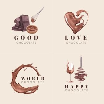 Logo design con il concetto di giornata mondiale del cioccolato