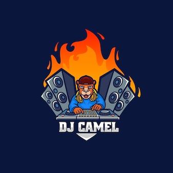 Logo dj cammello mascotte stile cartone animato