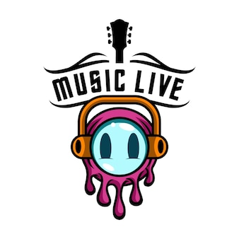 Logo emoji music live for entertainment media e music club