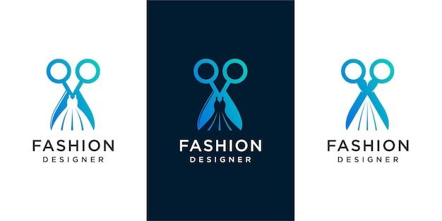 Logo stilista di moda, abito creativo combinato e design del logo a forbice. vettore premium