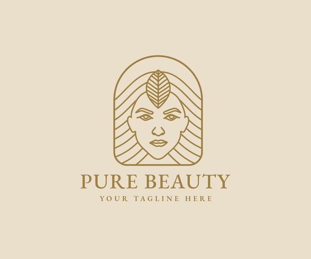 Logo femminile bellezza donna viso linea minimalista arte ritratto disegnato a mano per trucco moda e spa