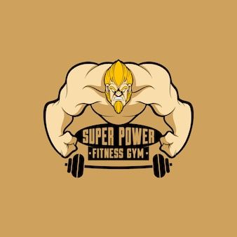 Logo mascotte palestra fitness logo con stile cartoon