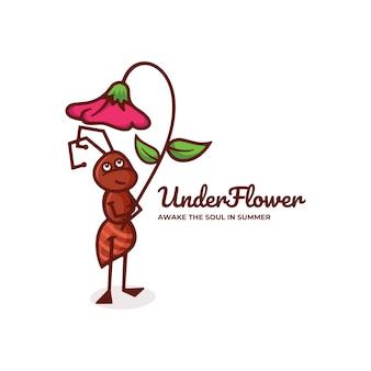 Logo sotto fiore stile semplice mascotte.