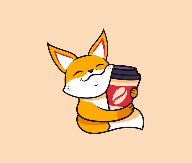 Il logo divertente volpe con caffè. logotipo di cibo, simpatico animale, personaggio dei cartoni animati