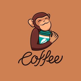 La scimmia divertente logo con caffè, testo. logotipo alimentare
