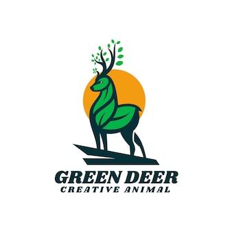 Logo verde cervo semplice stile mascotte