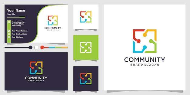Gruppo di logo per il concetto quadrato creativo della comunità e il design del biglietto da visita vettore premium
