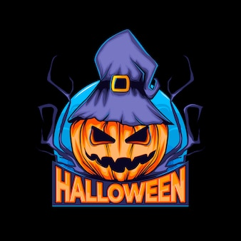 Logo zucca di halloween con cappello da strega e luna notturna. Vettore Premium