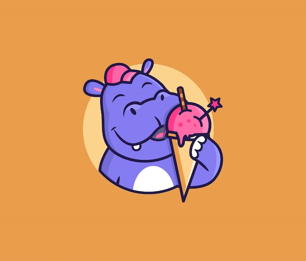 L'ippopotamo testa logo con gelato., simpatico animale, personaggio dei cartoni animati, distintivo, adesivo, emblema