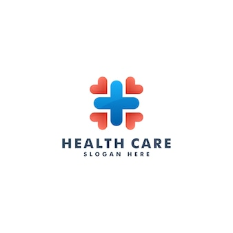 Logo per l'assistenza sanitaria medica. croce più logotipo medico