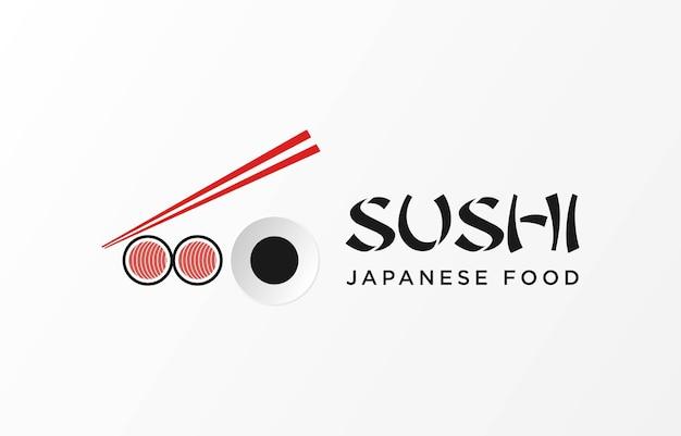 Logo icona vettore icona stile illustrazione fast food bar o negozio sushi maki onigiri rotolo di salmone con c