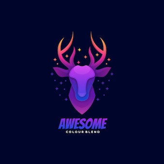 Logo illustrazione awesome deer gradient colorful style.