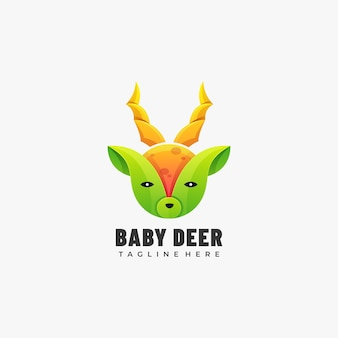 Logo illustrazione baby deer gradient colorful style.