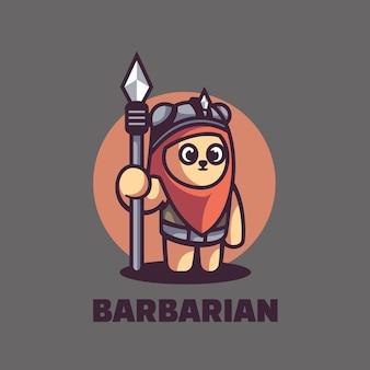 Logo illustrazione orso mascotte stile cartone animato.