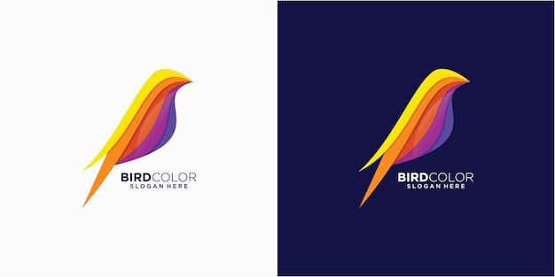 Logo illustrazione uccello colorato