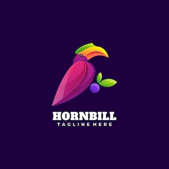 Logo illustrazione uccello gradiente colorato stile