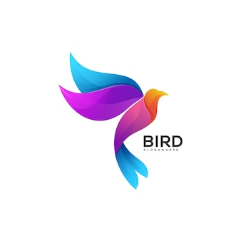 Logo illustrazione uccello gradiente colorato stile.