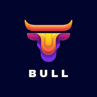 Logo illustrazione bull gradient colorful style.