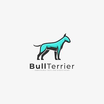 Logo illustration bull terrier mascot cartoon