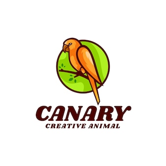 Illustrazione del logo in stile mascotte semplice canarino