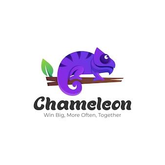 Logo illustrazione camaleonte gradiente colorato stile.