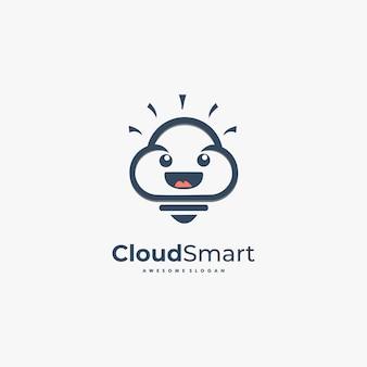 Fumetto sveglio di logo illustration cloud smart.