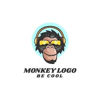 Illustrazione di logo cool monkey mascotte stile cartone animato