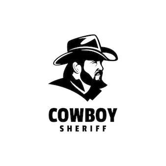 Logo illustrazione cowboy silhouette style.