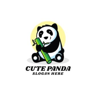Logo illustrazione cute panda mascotte stile cartoon