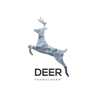 Logo illustrazione cervo poligono geometrico logo