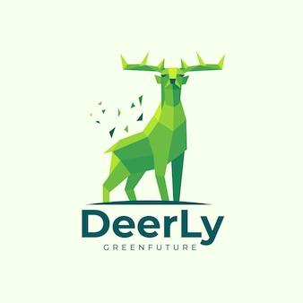 Illustrazione di marchio deer low poly style.