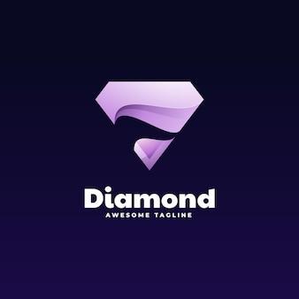 Logo illustrazione diamante gradiente stile colorato