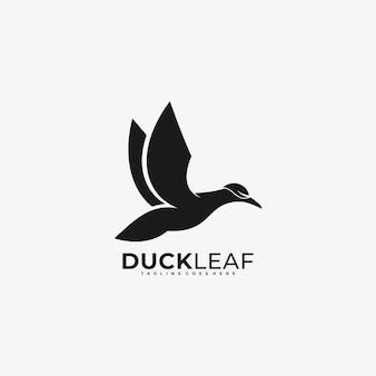 Logo illustration duck flying silhouette style