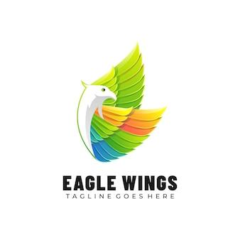 Logo illustrazione ali d'aquila gradiente colorato stile.