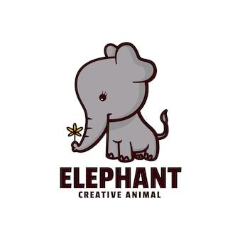 Logo illustrazione elefante mascotte stile cartone animato