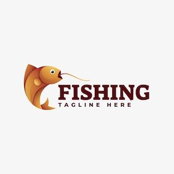 Logo illustrazione pesca gradiente stile colorato.