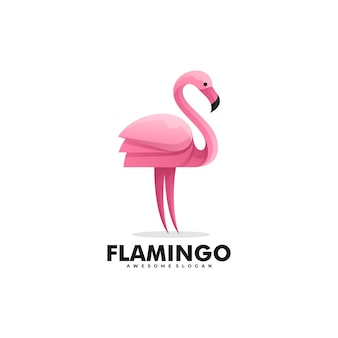 Logo illustrazione flamingo gradient colorful style.