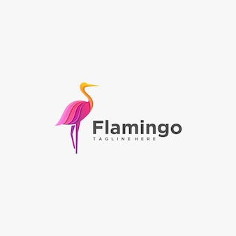 Logo illustration flamingo gradient colorful style.